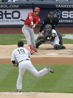 New York Yankees starting pitcher Masahiro Tanaka (19) strikes out Los Angeles Angels designated hitter Shohei Ohtani during the first inning of a baseball game Sunday, May 27, 2018, at Yankee Stadium in New York. (AP Photo/Bill Kostroun)