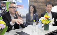 パラリンピックについて話し合う(左から)ホリングスワースさん、河合さん、マセソンさん=毎日メディアカフェで5月22日