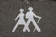 路上に書かれたマーク。「巡礼者はここを歩け」か「巡礼者がいるので走行注意」か