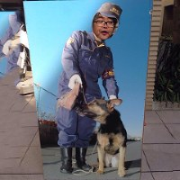 The Police Museum in Tokyo's Chuo Ward boasts a K9 dog and handler in the form of a cutout board for visitors in this April 2015 photo. (Photo courtesy of Hiromichi Shizume)