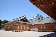 Nagoya Castle's rebuilt Honmaru Palace is seen on June 4, 2018, before being opened to the public four days later, in Nagoya's Naka Ward. The left building is the Jorakuden, the shogun's rooms. (Mainichi)