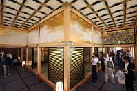 Reporters visit Nagoya Castle's rebuilt Honmaru Palace in Nagoya's Naka Ward, on June 4, 2018. (Mainichi)