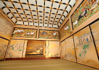 The Jorakuden Ichi-no-ma, or primary waiting room, and the Jodan-no-ma, the lord's audience chamber (at rear) are seen in Nagoya Castle's rebuilt Honmaru Palace in Nagoya's Naka Ward, on June 4, 2018. (Mainichi)