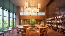 「メイツ深川住吉」の共用棟は吹き抜け図書スペースを中心に約1万冊の蔵書を収める(完成予想図)