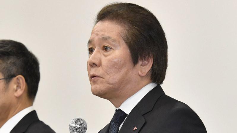 三菱マテリアルの竹内章社長=2018年2月8日、藤井達也撮影