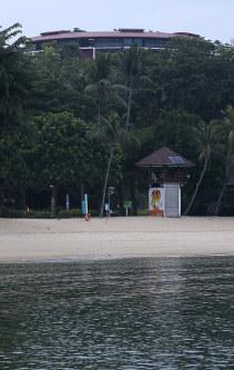 米朝首脳会談が行われるセントーサ島のカペラホテル=シンガポールで2018年6月12日午前7時6分、佐々木順一撮影