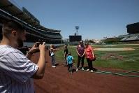 エンゼルスタジアムのフィールドに降りて写真を撮るツアー参加者=米カリフォルニア州アナハイムで2018年6月7日、ルーベン・モナストラ撮影