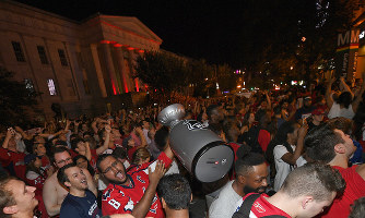 d1f009a33 Washington Capitals fans celebrate in the streets outside Capital One Arena  after Game 5 of the NHL hockey Stanley Cup Finals between the Washington ...