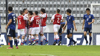 Paraguay's players celebrate after scoring during a friendly soccer match between Japan and Paraguay at Tivoli Stadium in Innsbruck, Austria, on Tuesday, June 12, 2018. (AP Photo/Kerstin Joensson)