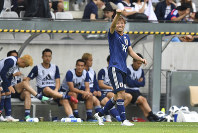 Japan's Takashi Inui celebrates after scoring during a friendly soccer match between Japan and Paraguay at Tivoli Stadium in Innsbruck, Austria, on Tuesday, June 12, 2018. (AP Photo/Kerstin Joensson)