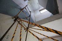 A ladder to the roof, which separated life and death for staff members when the tsunami that followed the March 2011 Great East Japan Earthquake struck, is seen in the former town hall in Otsuchi, Iwate Prefecture, on June 13, 2018. (Mainichi)