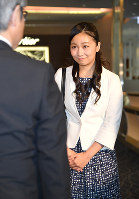 Princess Kako, the youngest daughter of Prince Akishino and Princess Kiko, arrives at Haneda Airport in Tokyo on the afternoon of June 15, 2018, after attending a study abroad program at the University of Leeds in the U.K. (Pool photo)
