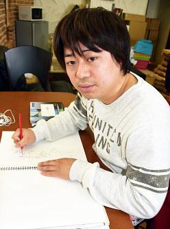 「海外で展覧会を開きたい」と語る杉原将太さん=島根県出雲市のアトリエで、山田英之撮影