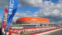 W杯のために新しく造られ、工事が進むモルドビア・アリーナ。収容人数は約4万4000人。日本対コロンビアの他、ペルー対デンマークなどグループリーグ計4試合が行われる=ロシア・サランスクで2018年6月9日、長谷川直亮撮影