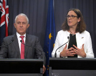 European Trade Commissioner Cecilia Malmstrom, right, speaks as Australian Prime Minister Malcolm Turnbull listens during a press conference at Parliament House in Canberra, Australia, on June 18, 2018. (AP Photo/Rod McGuirk)