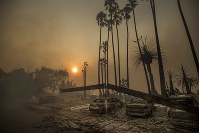 In this Dec. 5, 2017 file photo, smoke rises behind a destroyed apartment complex as a wildfire burns in Ventura, California. (AP Photo/Noah Berger)