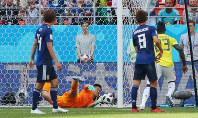 【コロンビア―日本】前半、同点ゴールを許すGK川島=ロシア・サランスクで2018年6月19日、長谷川直亮撮影
