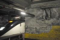 下り線ホームに描かれたペンギンの壁画。脇では成田空港行き特急電車「スカイライナー」が通過していった=東京都台東区の旧博物館動物園駅で2018年6月19日午前11時1分、芳賀竜也撮影