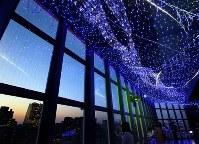 東京タワーの展望台を彩る天の川イルミネーション=東京都港区で2018年6月7日、宮武祐希撮影