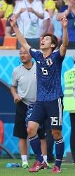 【コロンビア-日本】後半、勝ち越しのゴールを決め、喜ぶ大迫=ロシア・サランスクで2018年6月19日、長谷川直亮撮影