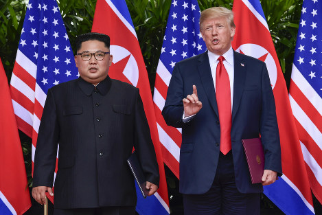 In this June 12, 2018 file photo, U.S. President Donald Trump makes a statement before saying goodbye to North Korea leader Kim Jong Un after their meetings at the Capella resort on Sentosa Island in Singapore. (AP Photo/Susan Walsh, Pool)