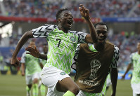Nigeria's Ahmed Musa celebrates his team's second goal during the group D match between Nigeria and Iceland at the 2018 soccer World Cup in the Volgograd Arena in Volgograd, Russia, on June 22, 2018. (AP Photo/Darko Vojinovic)