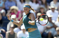 Petra Kvitova on her way to victory during day seven of the Nature Valley Classic at Edgbaston Priory, Birmingham, on June 24, 2018. (David Davies/ PA via AP)