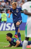 【日本―セネガル】後半、同点ゴールを決める本田=ロシア・エカテリンブルクで2018年6月24日、長谷川直亮撮影