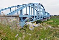 九頭竜川に架かる舟橋は福井地震で崩壊し、1950年には鉄骨橋の九頭竜橋が架設された=福井市舟橋町で2018年6月11日、山田尚弘撮影