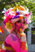 A Pride 2018 participant poses for a photograph in San Francisco, California, on June 24, 2018. (Reuben Monastra)
