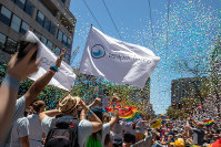 Confetti fills the air during the Pride 2018 parade in San Francisco, California, on June 24, 2018. (Reuben Monastra)