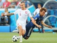 【日本―ポーランド】後半、ボールを奪い合う乾(右)=ロシア・ボルゴグラードで2018年6月28日、長谷川直亮撮影