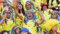 選手たちに声援を送るコロンビアのサポーター=ロシア・サランスクで2018年6月19日、長谷川直亮撮影