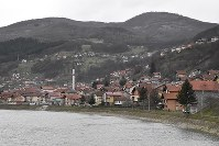 The city of Gorazde in southeastern Bosnia and Herzegovina sits along the Drina River in this picture taken on March 6, 2018. (Mainichi)