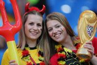 【ベルギー-日本】試合に臨むベルギーサポーター=ロシア・ロストフナドヌーで2018年7月2日、長谷川直亮撮影