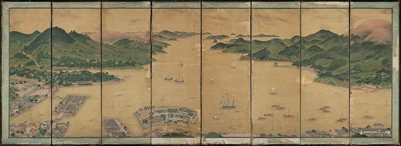 シーボルトお抱え絵師が描いた出島 江戸末期びょうぶ、オランダで発見