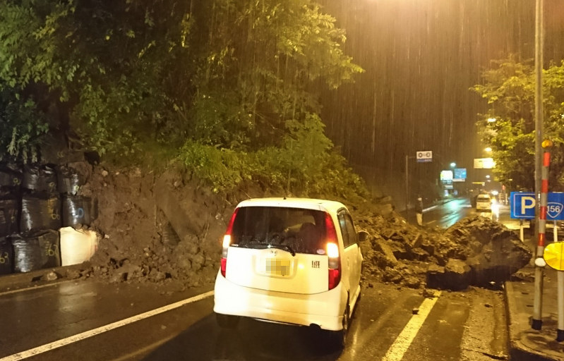 A landslide blocks National Route No. 156 in Gujo Gifu Prefecture