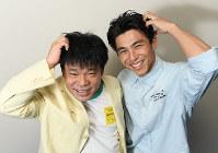 ネットドラマ「Jimmy」に主演する中尾明慶(右)とドラマのモデルのジミー大西=久保玲撮影