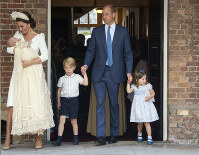 Britain's Prince William and Kate, Duchess of Cambridge with their children Prince George, Princess Charlotte, Prince Louis as they arrive for Prince Louis' christening service at the Chapel Royal, St James's Palace, London, on July 9, 2018. (Dominic Lipinski/Pool Photo via AP)