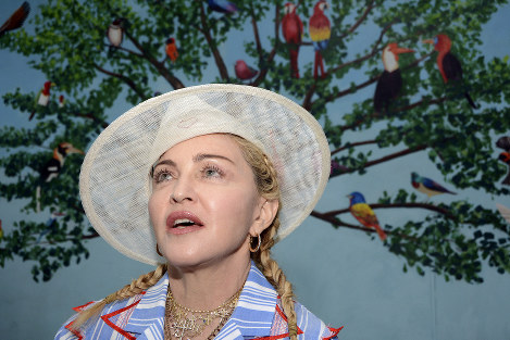 Madonna speaks to the press at a news conference in Blantyre, Malawi, on July 16, 2018. (AP Photo/Thoko Chikondi)