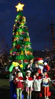 A Christmas tree made with Lego blocks is seen at Legoland Japan in Nagoya's Minato Ward on Nov. 15, 2017. (Mainichi)