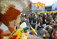 Legoland Japan is crowded with visitors following its opening on April 1, 2017, in Nagoya's Minato Ward. (Mainichi)