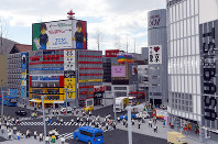 The townscape of Tokyo's Shibuya reconstructed with Lego blocks is seen at Legoland Japan in Nagoya's Minato Ward on March 17, 2017. (Mainichi)