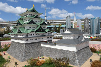 Nagoya Castle reconstructed with Lego blocks is seen at Legoland Japan in Nagoya's Minato Ward on March 17, 2017. (Mainichi)