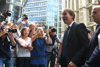 Singer Cliff Richard arrives at the Rolls Building to hear the ruling of his case against the BBC over coverage of a South Yorkshire Police raid in August 2014 on his home in Sunningdale, Berkshire following a child sex assault allegation, on July 18, 2018, in London. (Victoria Jones/PA via AP)