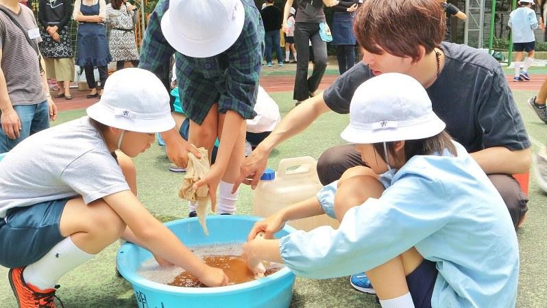 東京・銀座の泰明小学校で毎年実施されている「銀座の柳染め課外授業」=筆者提供