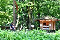 京都御苑の「母と子の森」の中にたたずむ「森の文庫」。そばのベンチで、親子が絵本を読んでいた=京都市上京区で、川平愛撮影