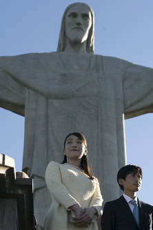 Japan's Princess Mako visits the Christ the Redeemer statue in Rio de Janeiro, Brazil, on July 18, 2018. (AP Photo/Leo Correa)