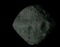 リュウグウ表面の8メートル以上とみられる岩塊の分布(緑の印)=JAXA、近畿大など提供