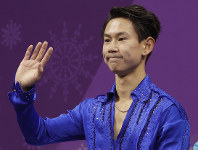 In this Feb. 16, 2018 file photo, figure skater Denis Ten, of Kazakhstan, reacts as his score is posted following his performance in the men's short program figure skating, in the Gangneung Ice Arena at the 2018 Winter Olympics in Gangneung, South Korea. (AP Photo/David J. Phillip)